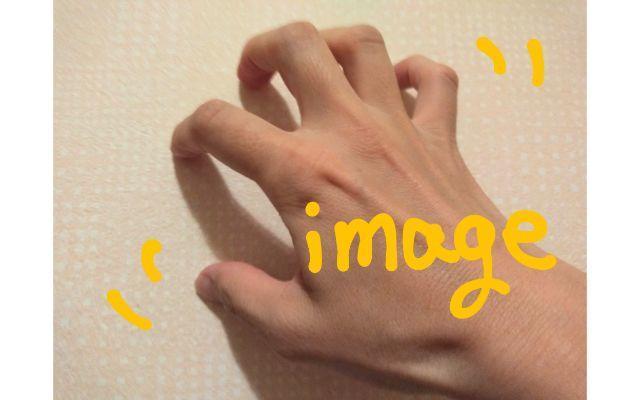 巨大クモを手の平で表現