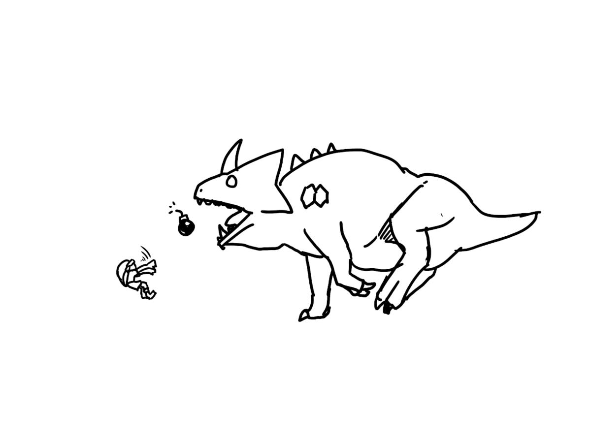 爆弾を口に投げ込まれるキングドドンゴの画像