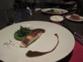 三浦半島産鯛のポワレ黒オリーブソース 新緑のフラン