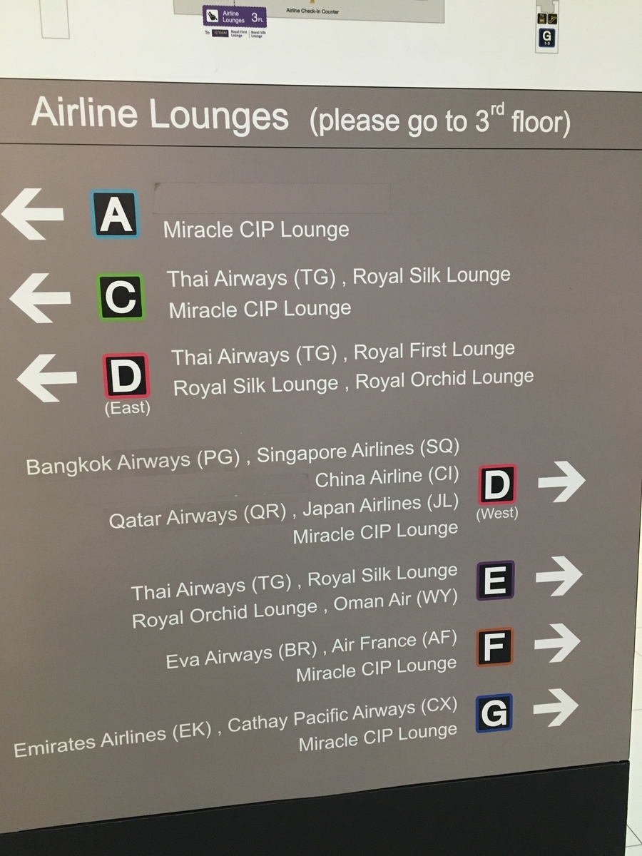 スワンナプーム空港のラウンジの案内板