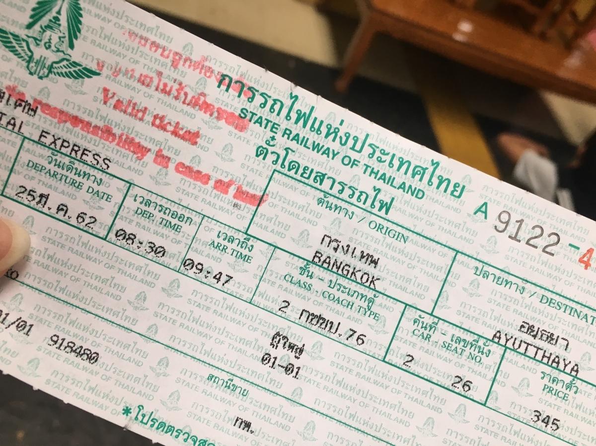 タイ国鉄の乗車券