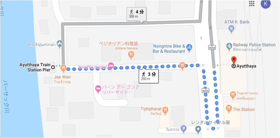 アユタヤ駅から渡し船乗り場までの地図