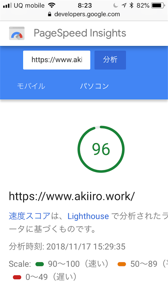 画像の配置 ページスピード・インサイトで自身のサイトの表示スピードを紹介している写真です