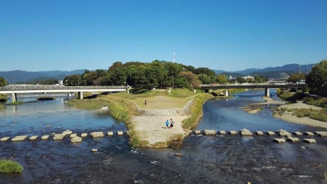 画像の配置 京都の加茂川と高野川の合流地点の写真です