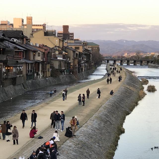 画像の配置です 京都の鴨川の河川敷の風景の写真です