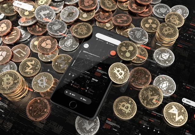 画像の配置 コインとスマホの写真