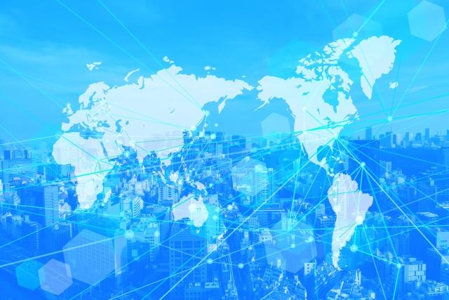 画像の配置 グローバルネットワークの世界地図