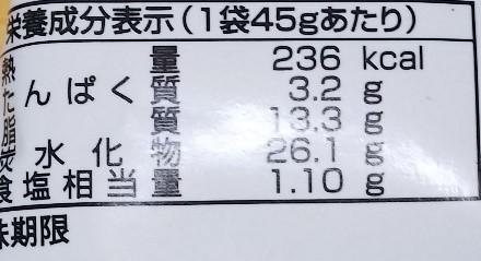 ベビースターラーメンの一種であるベビースタードデカイラーメン ファミチキ味の栄養成分表示