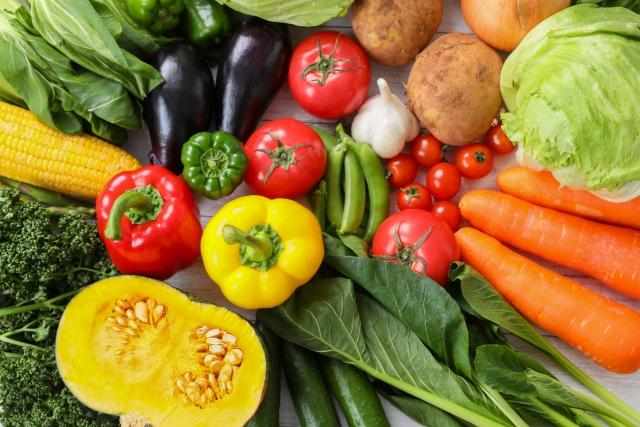 色とりどりの沢山の野菜が置かれている。