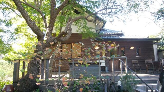 木のむこうに見える「バッケンバルト」の古民家風店舗