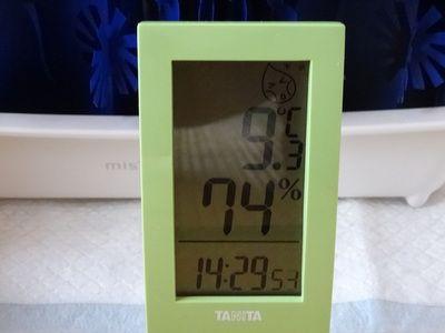 タニタの湿度計の画面表示