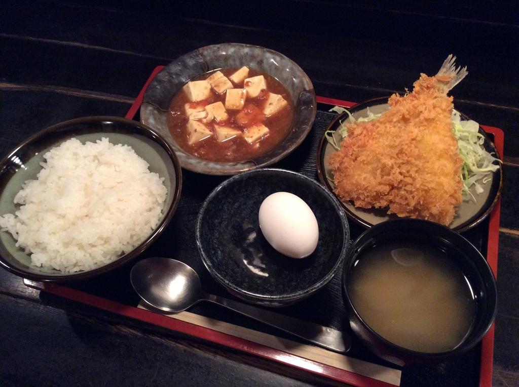 麻婆豆腐とキスフライ