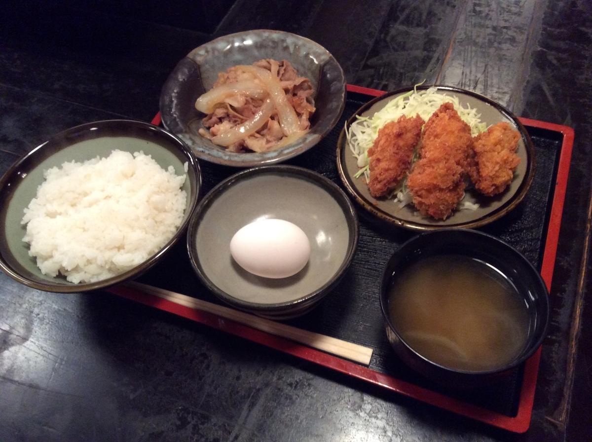 生姜焼きとカキフライ