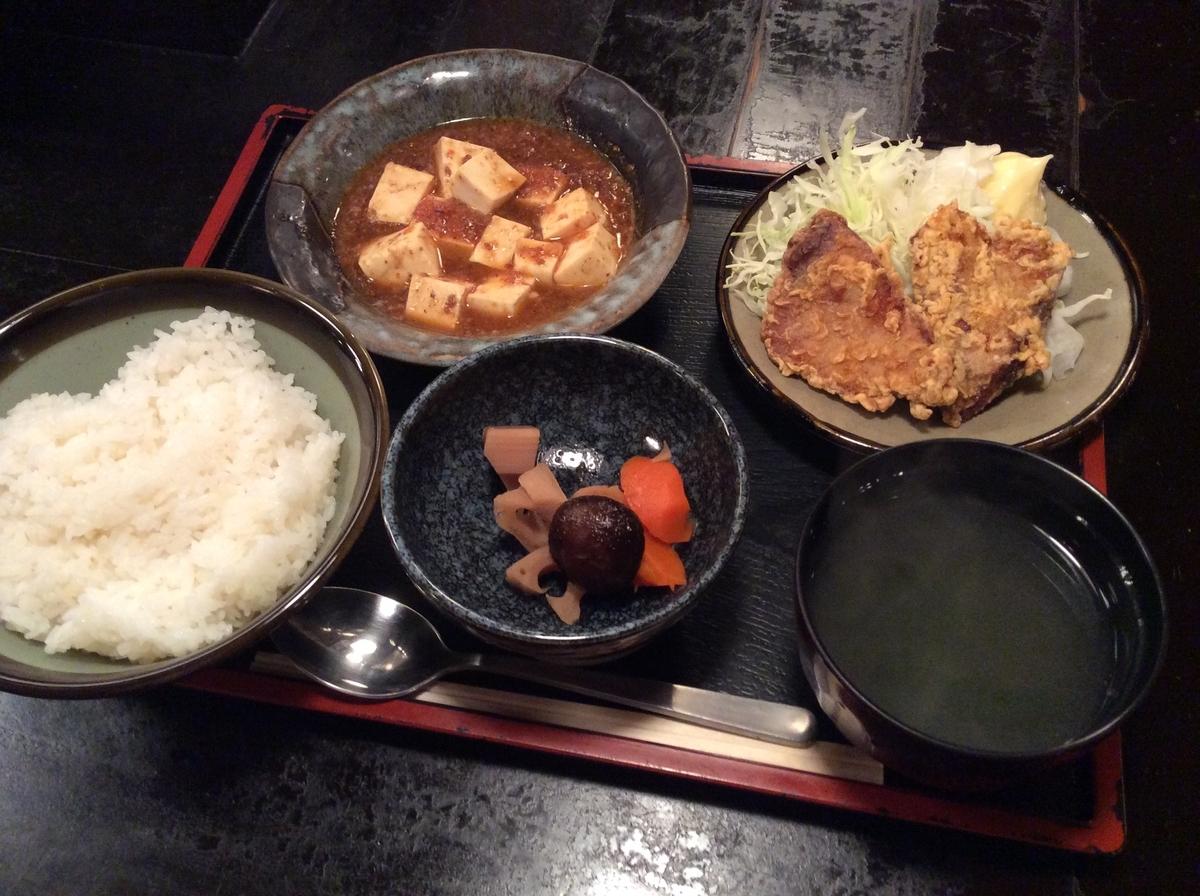 麻婆豆腐とカツオの唐揚げ