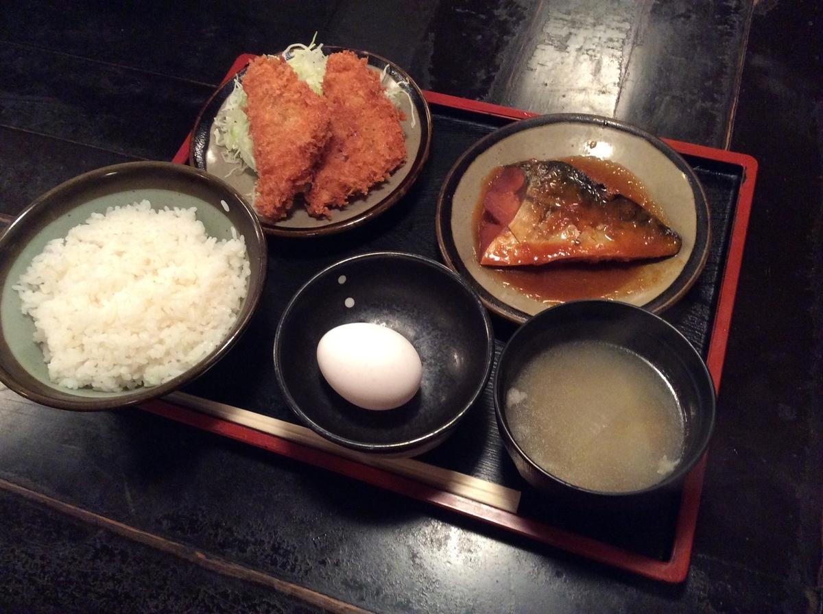 ハムカツと鯖の味噌煮のセット