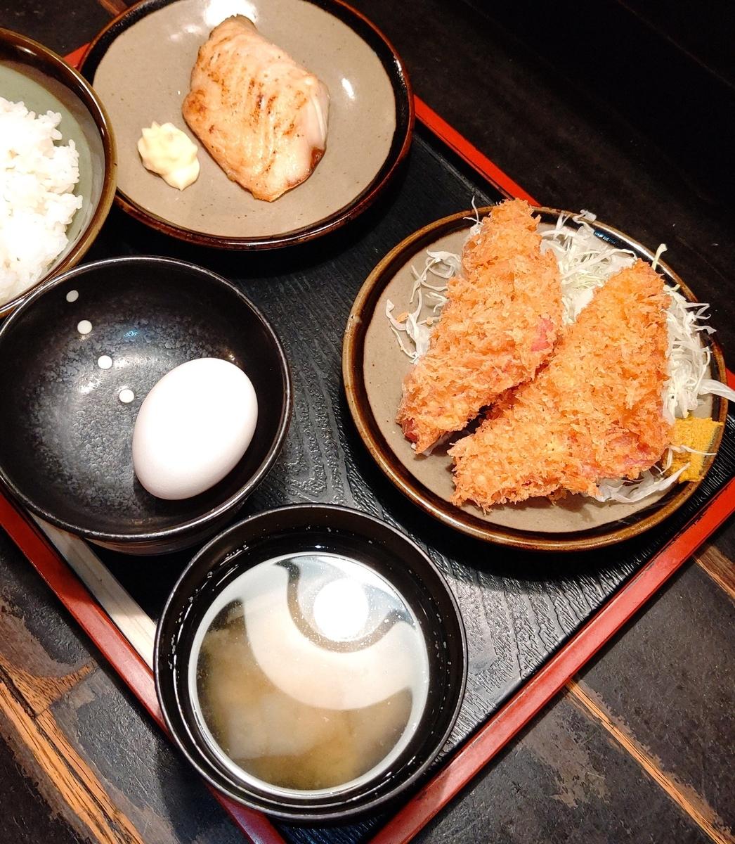 ハムカツと鯖の塩焼き