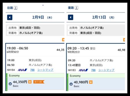2月のハワイ行きANA航空券の値段