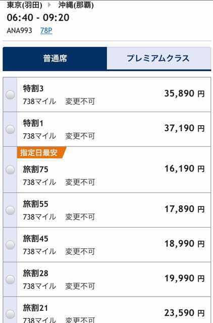 ANA国際線普通席の旅割運賃