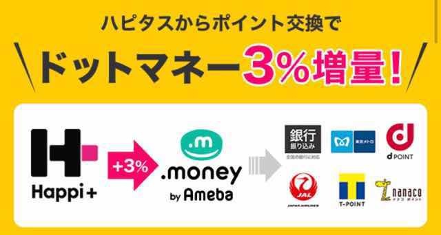 ハピタス→ドットマネーのマネー増量キャンペーン