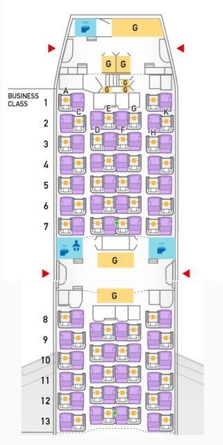 ANAのB787-9型のビジネスクラス座席配置