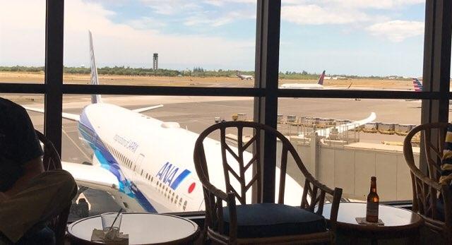 ホノルル空港のユナイテッド航空ラウンジからの景色