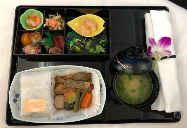ANAハワイ便復路のビジネスクラス食事 2018年11月和食