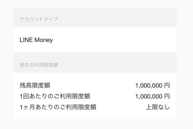 アカウントタイプが「LINE Money」の上限額