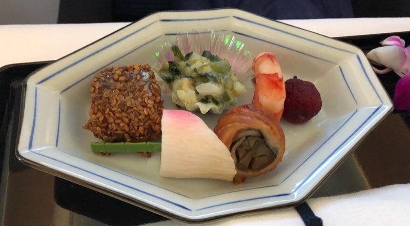 ANAホノルル線のビジネスクラスの機内食 和食の前菜
