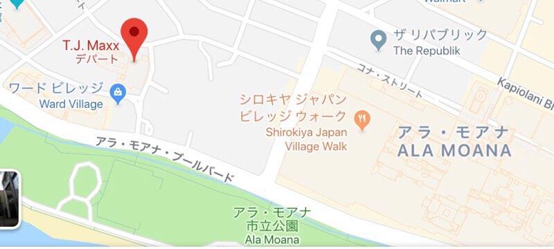 ハワイのワードエリアにあるT.J.Maxxの地図
