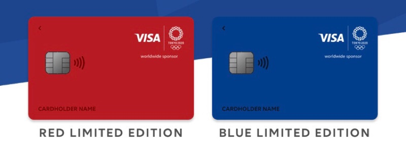 東京2020オリンピックのエンブレムデザインのVisa LINE Payカード
