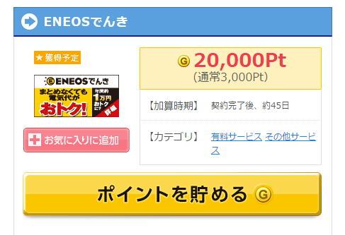 ゲットマネー経由でENEOSでんきと契約した場合、20,000ポイント獲得できます。これはANAマイルにすると1,800マイルになるポイント数です。