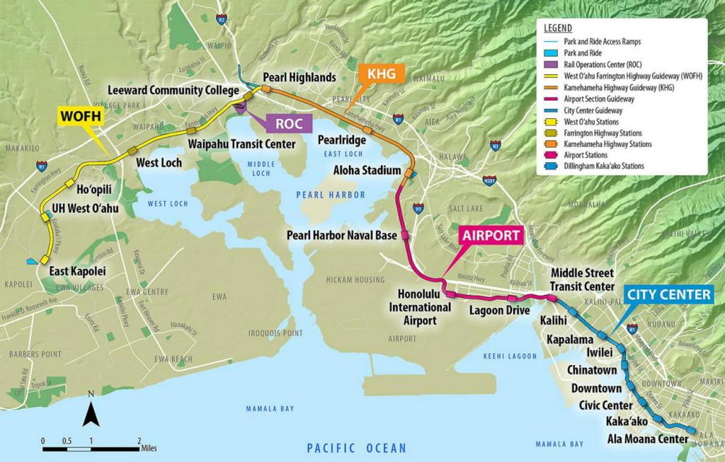 ハワイで開通予定のモノレール運行図。