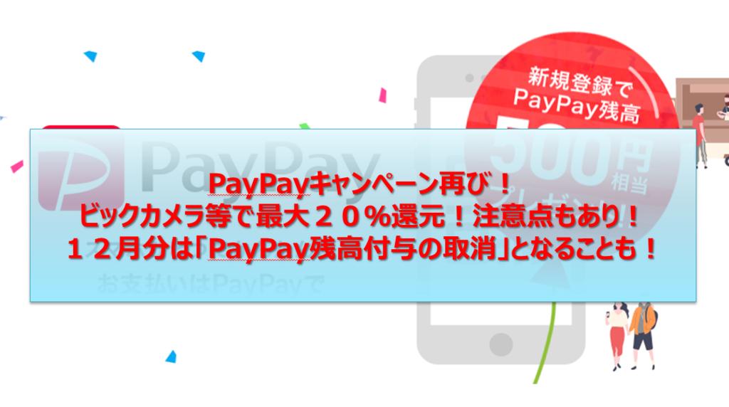 PayPay:不正利用:キャンペーン:第二段:ビックカメラ:switch:
