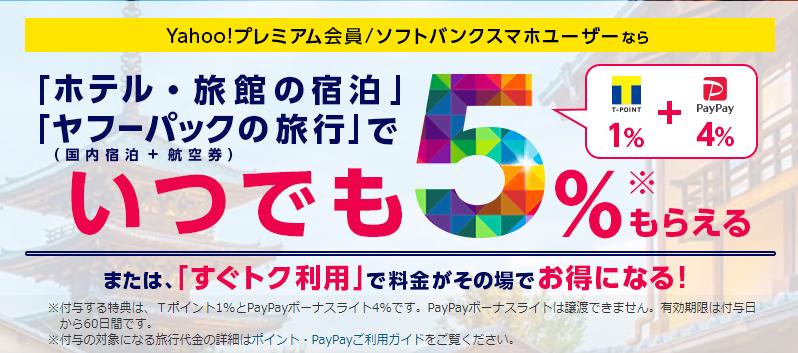 Yahoo!トラベル、PayPay、10%還元、キャッシュバック、節約
