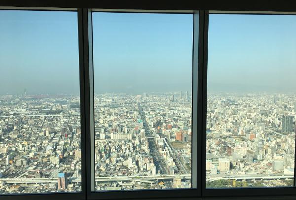 大阪マリオット都ホテルのアッパーフロアからの景色