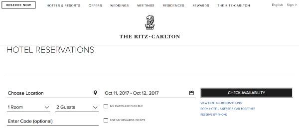 ザ・リッツカールトンリワードのホテル検索画面