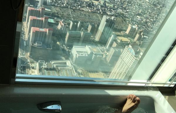 大阪マリオット都ホテルのバスルームからの眺望