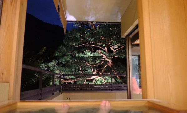 翠嵐のスイートルーム「暁露」のお風呂からの景色(夜)