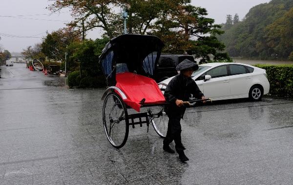 翠嵐から帰りの人力車