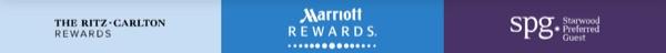 マリオットリワードとザ・リッツ・カールトン・リワードとSPGのロゴ