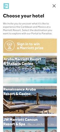 Marriott Portal to Paradiseのホテル選択画面