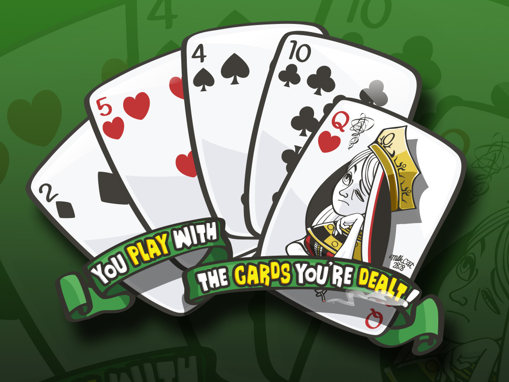 イラスト「配られたカードで勝負するしかないのさ」全体