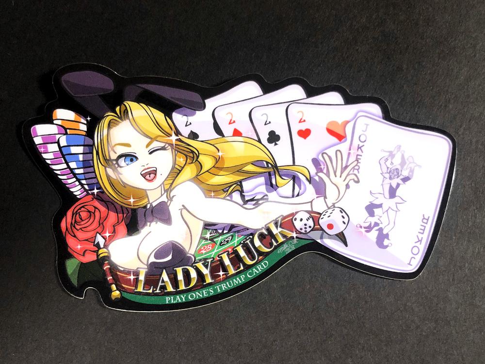 新作ステッカー「LADY LUCK(5カード)」