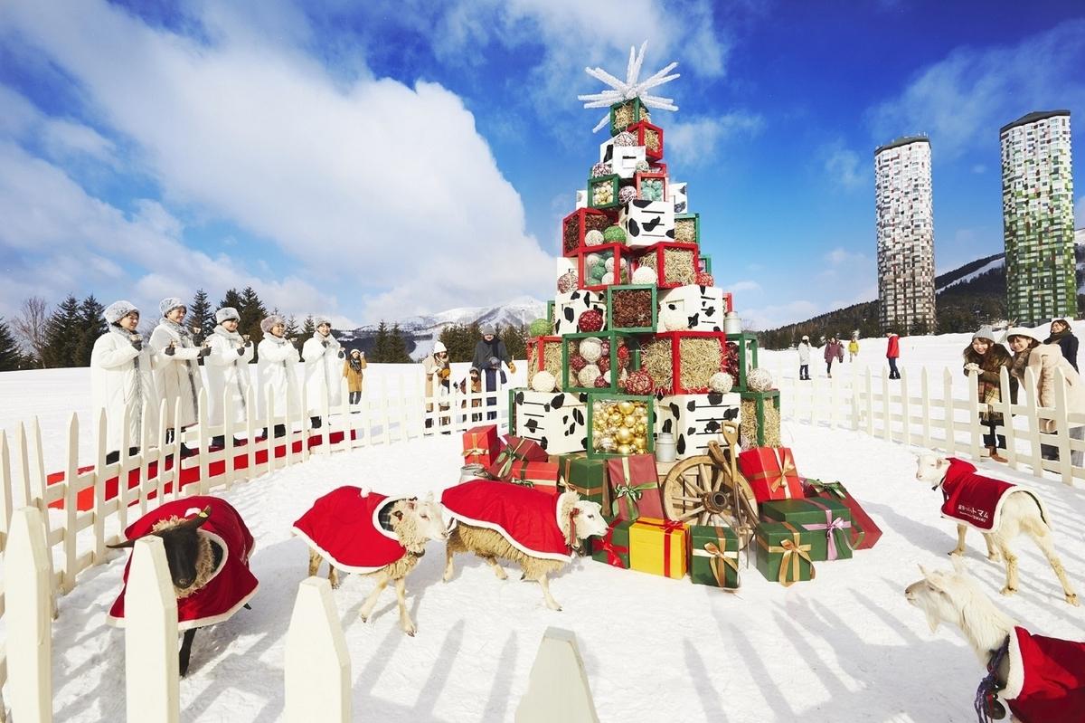 星野リゾート トマム  クリスマス クリスマスツリー 牧草ツリー