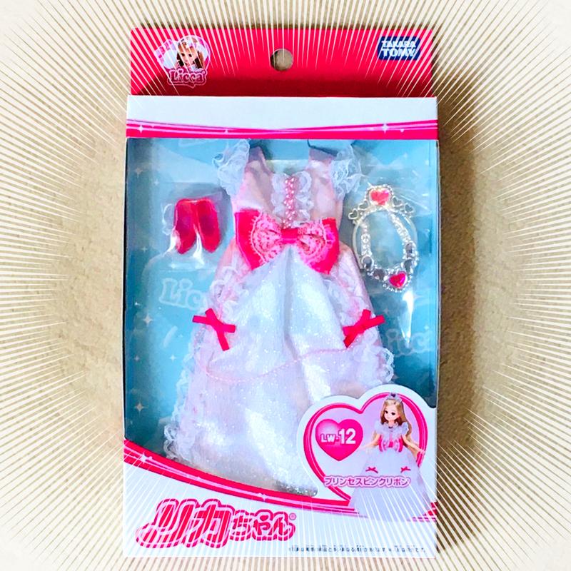 リカちゃんのドレスと靴とティアラとペンダントセット「プリンセスピンクリボン」