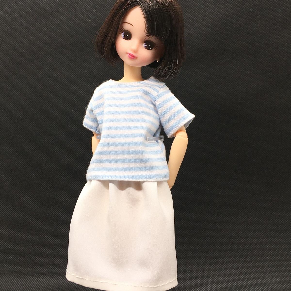 水色ボーダーのTシャツ&ペチコートを着たリカちゃん