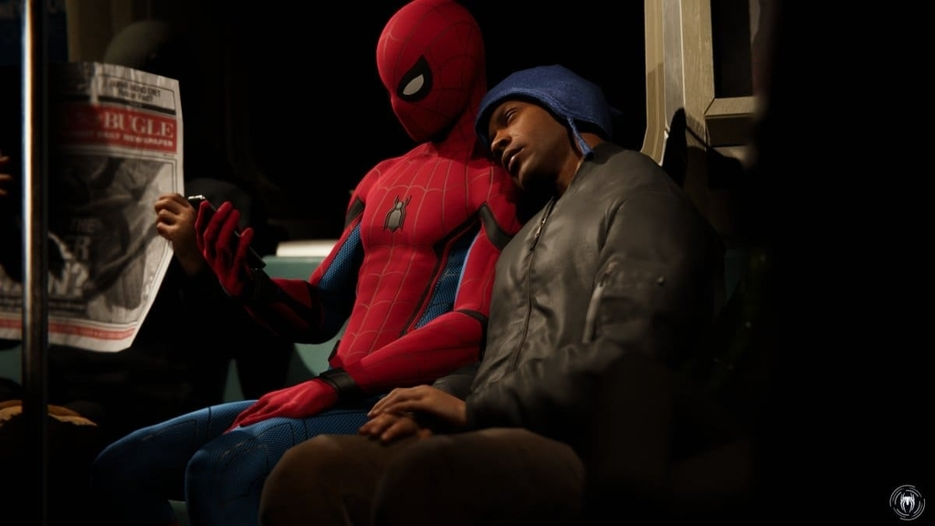 PS4マーベルスパイダーマンのファストトラベル中の一コマ