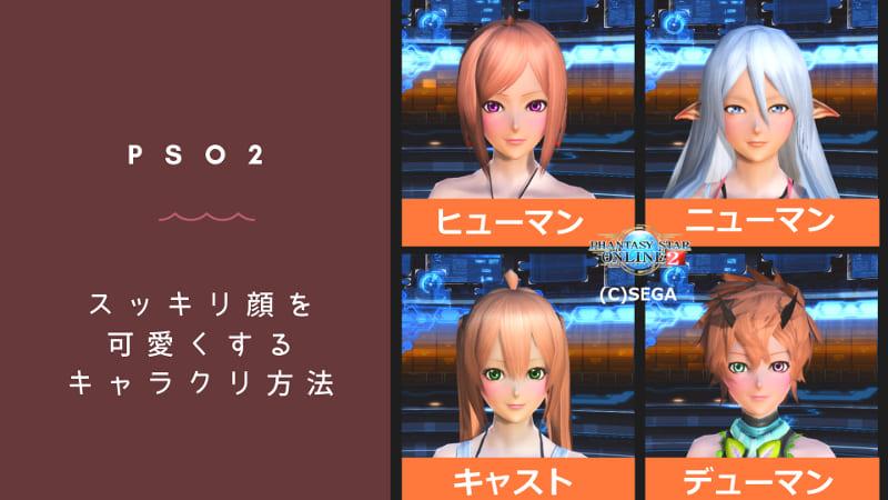 PSO2のスッキリ顔を可愛くするキャラクリのコツのアイキャッチ画像