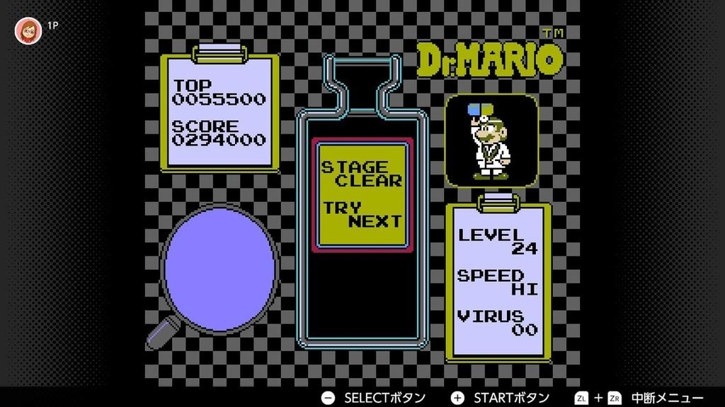 switchファミコン「ドクターマリオ」のレベル24クリア画像
