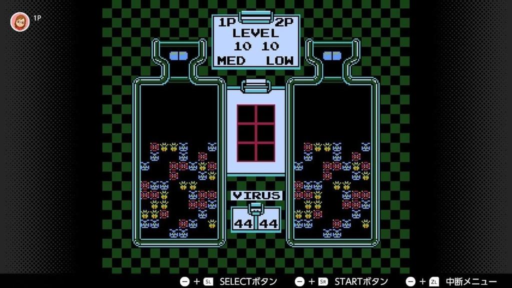 switchファミコン「ドクターマリオ」の対戦中の画像その1